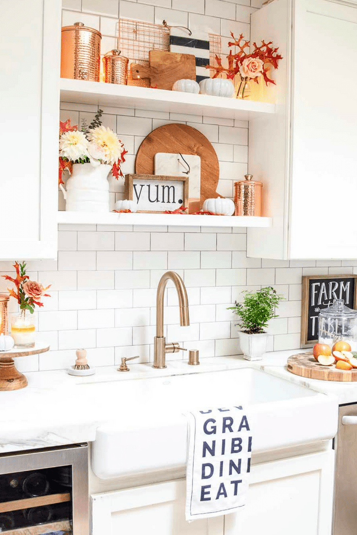 Simple Fall Decorating Ideas in the Kitchen - Modern Glam