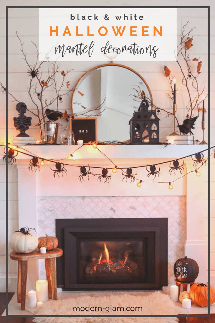 black and white halloween mantel decorations