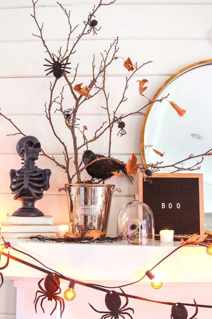 black and white neutral halloween mantel