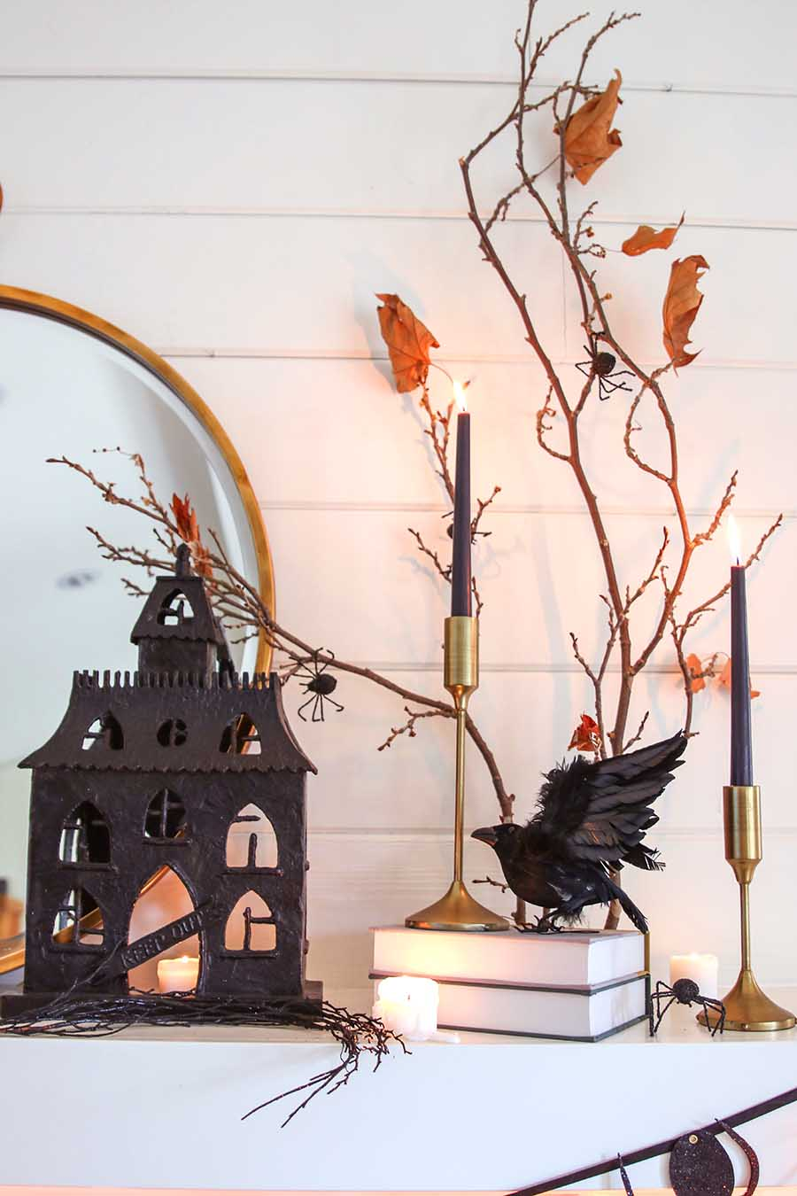 black & white neutral halloween mantel