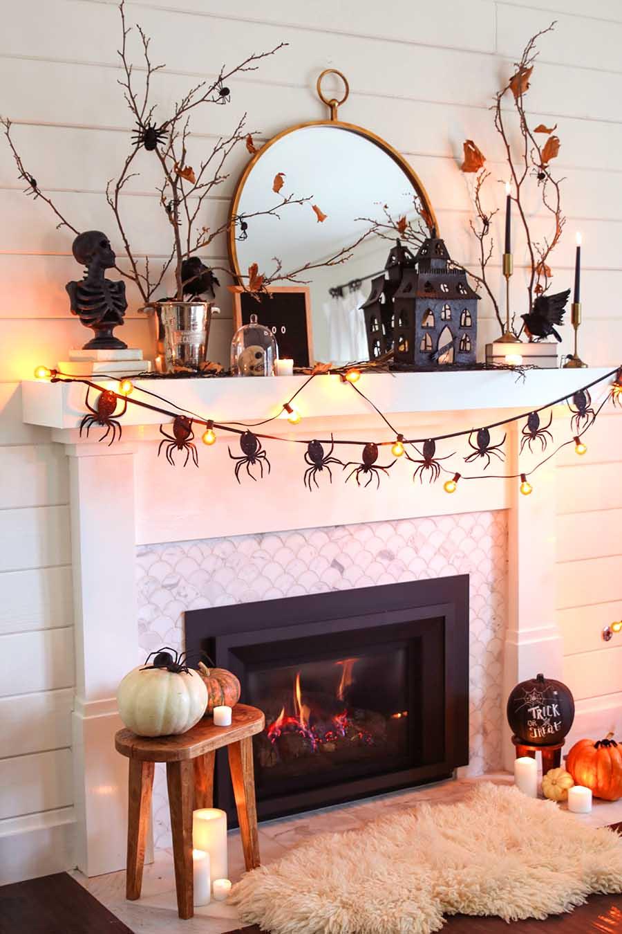 neutral halloween mantel