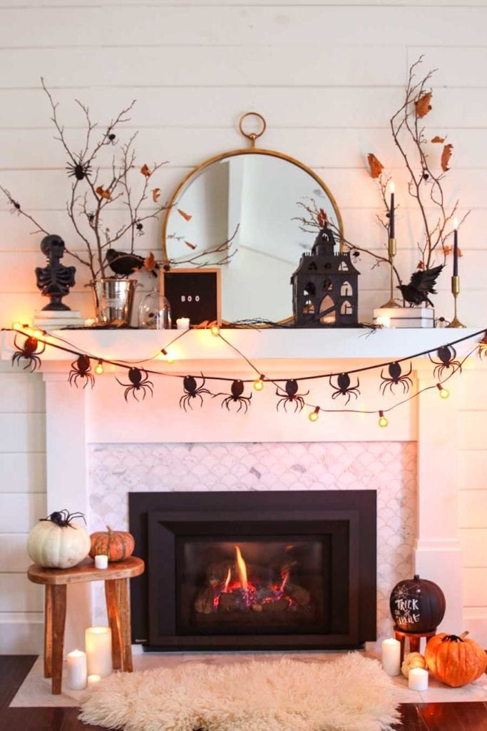 black and white halloween fireplace