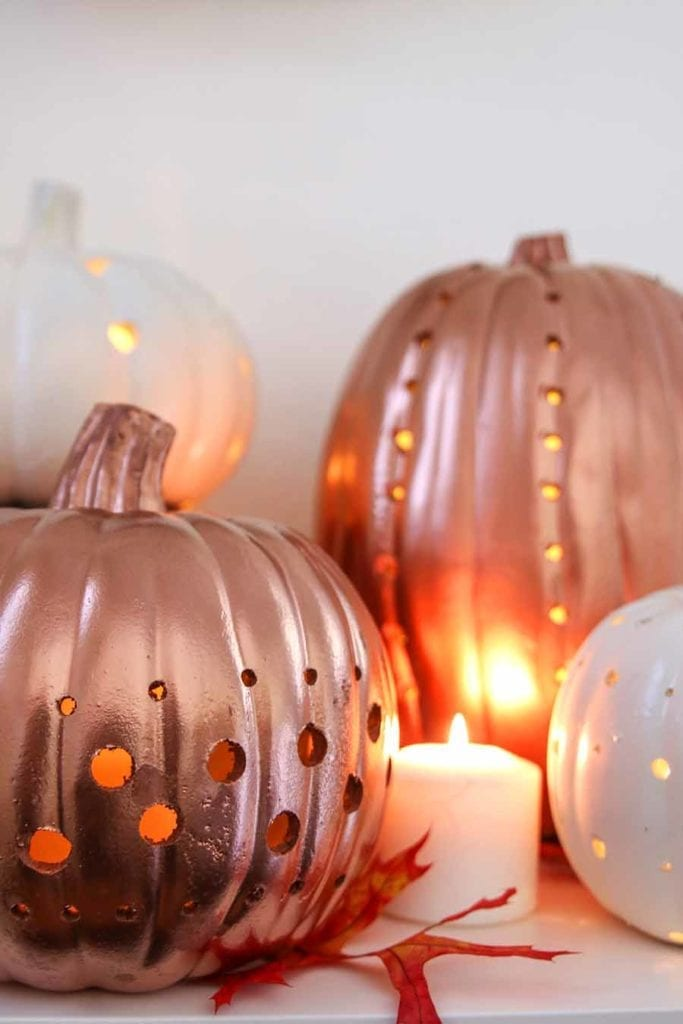 how to make faux pumpkin lanterns