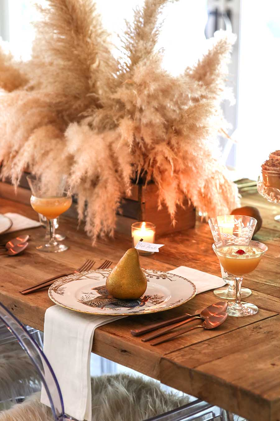 Golden Thanksgiving Table with Pampas Grass