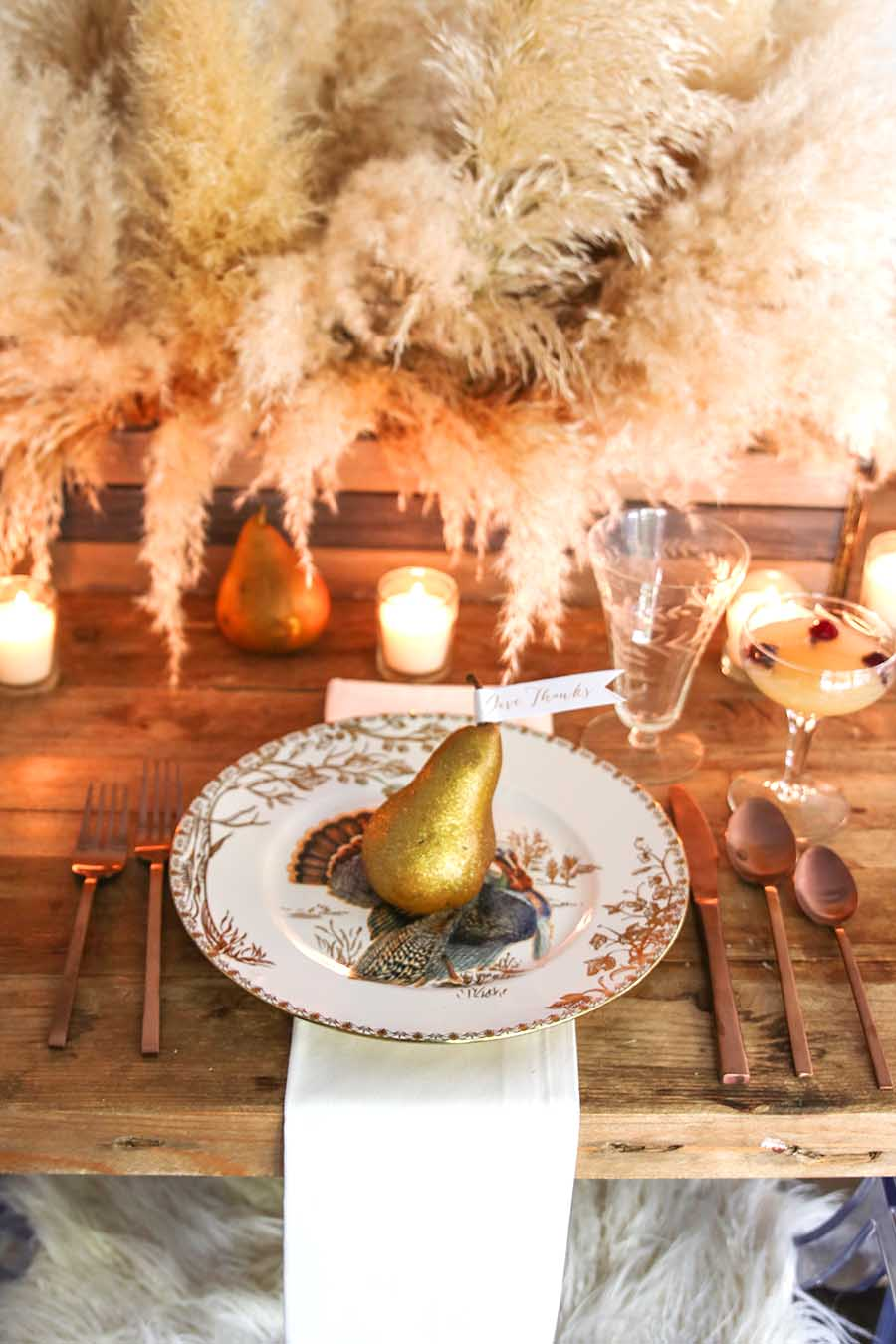 Gold Thanksgiving Place Setting