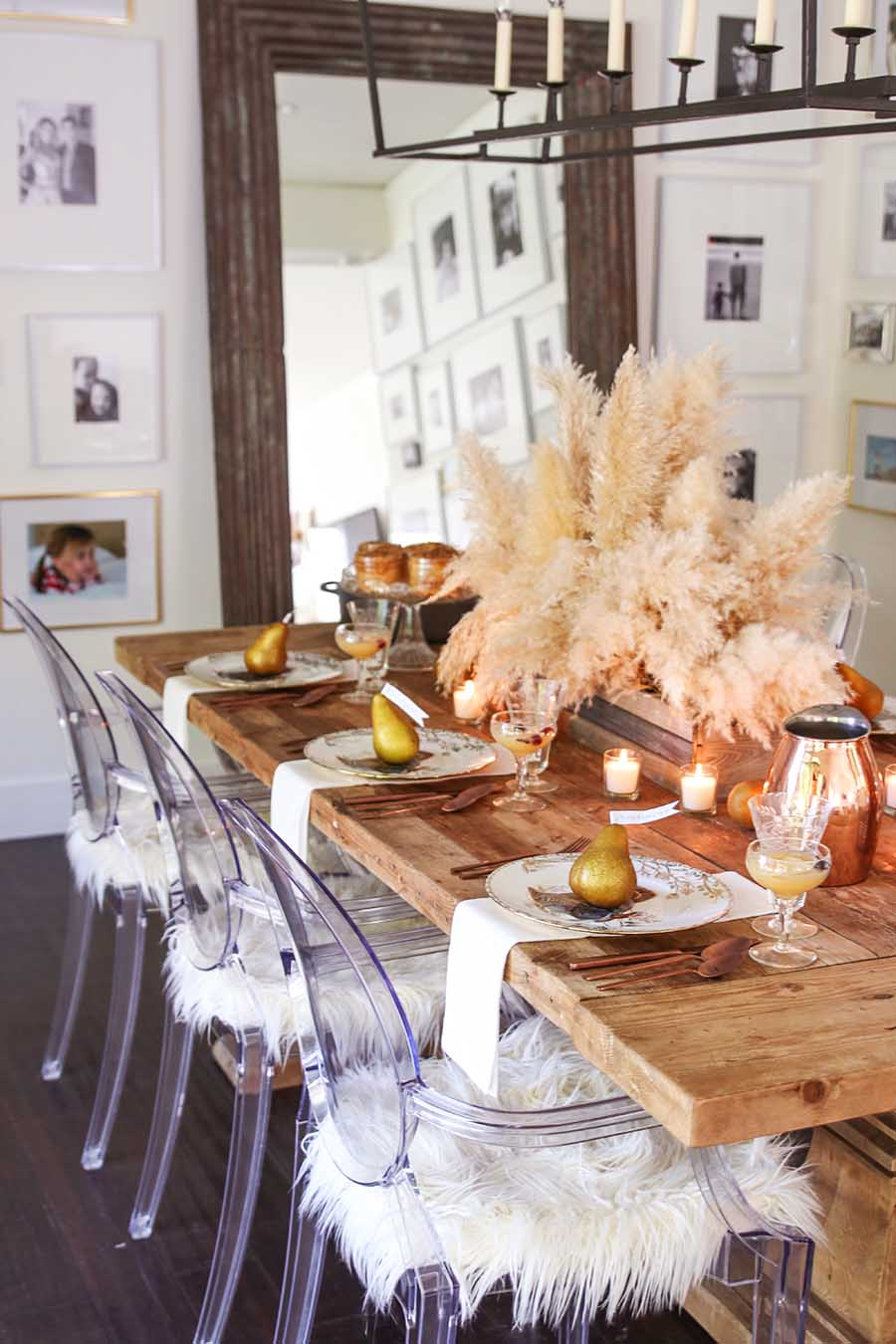 Thanksgiving Table with pampas grass