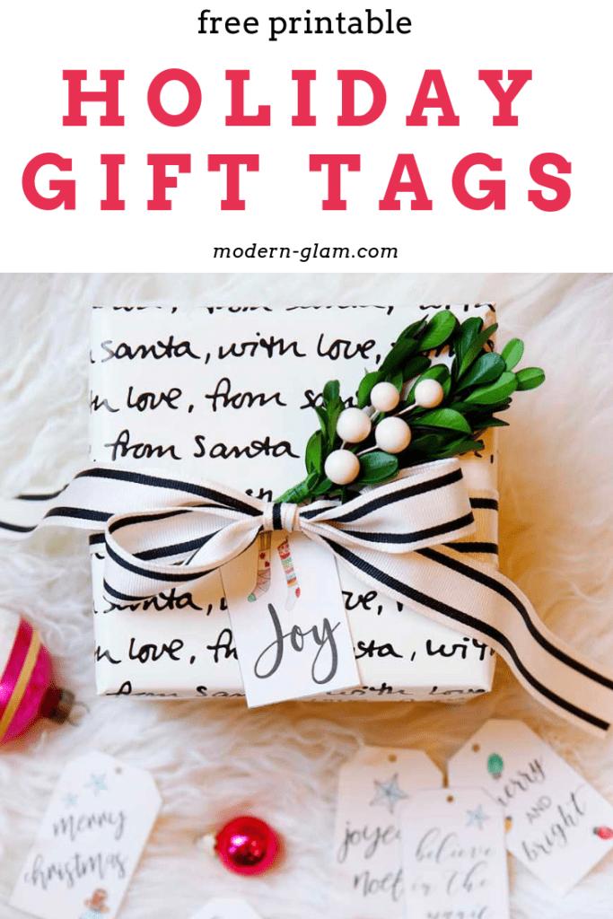 free printable hand lettered christmas gift tags