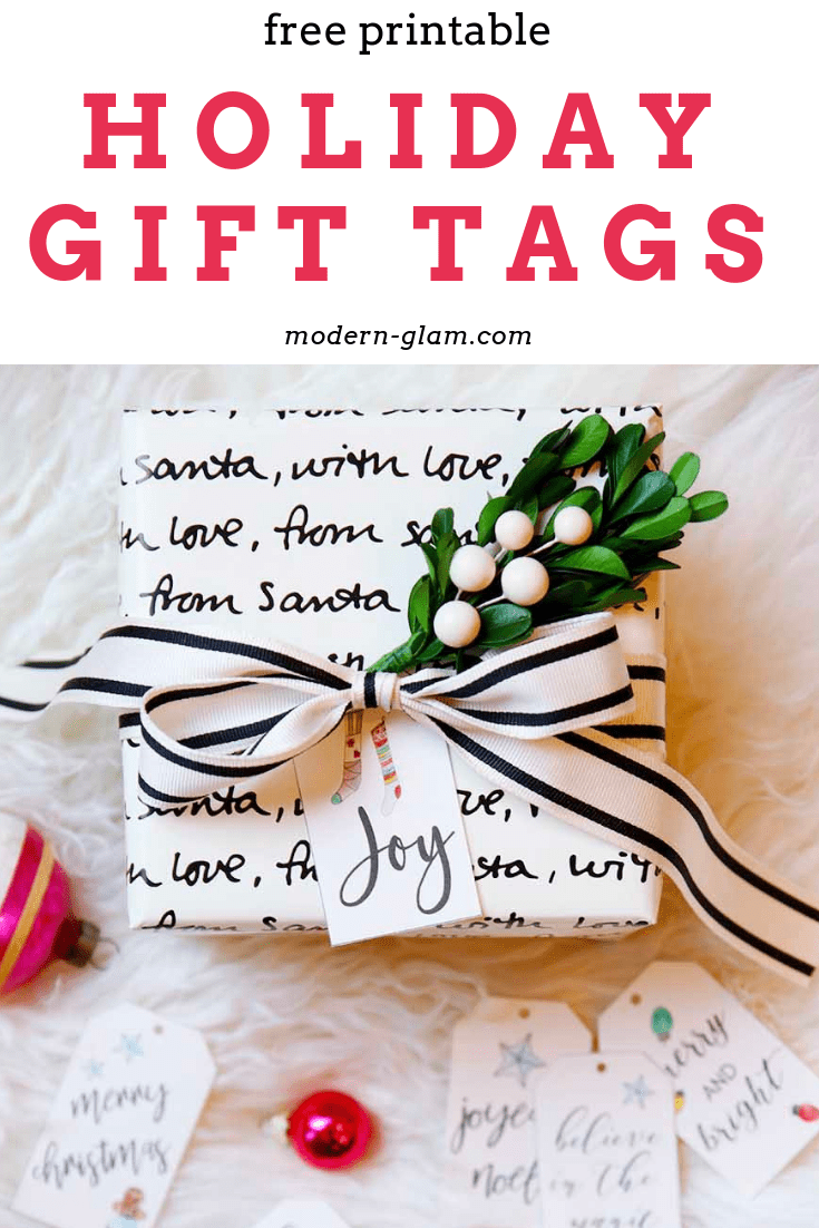 photograph relating to Printable Santa Gift Tags identified as Hand Lettered Xmas Present Tags - Totally free Printable - Impressive Glam