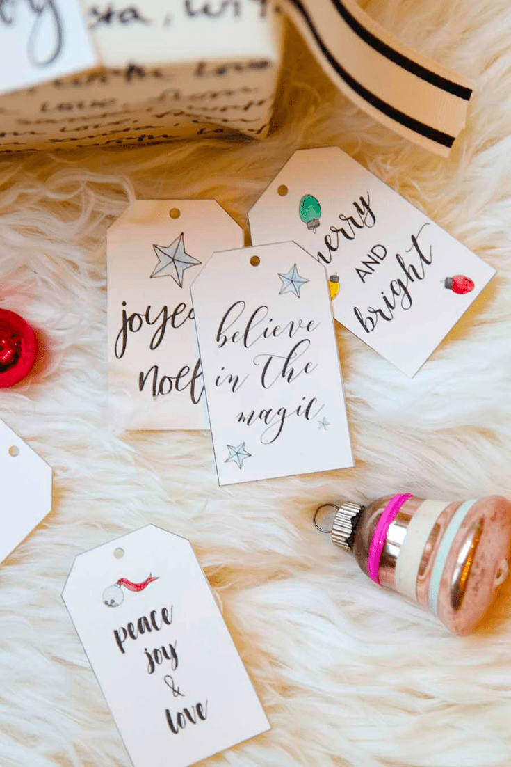 free printable hand lettered holiday gift tag