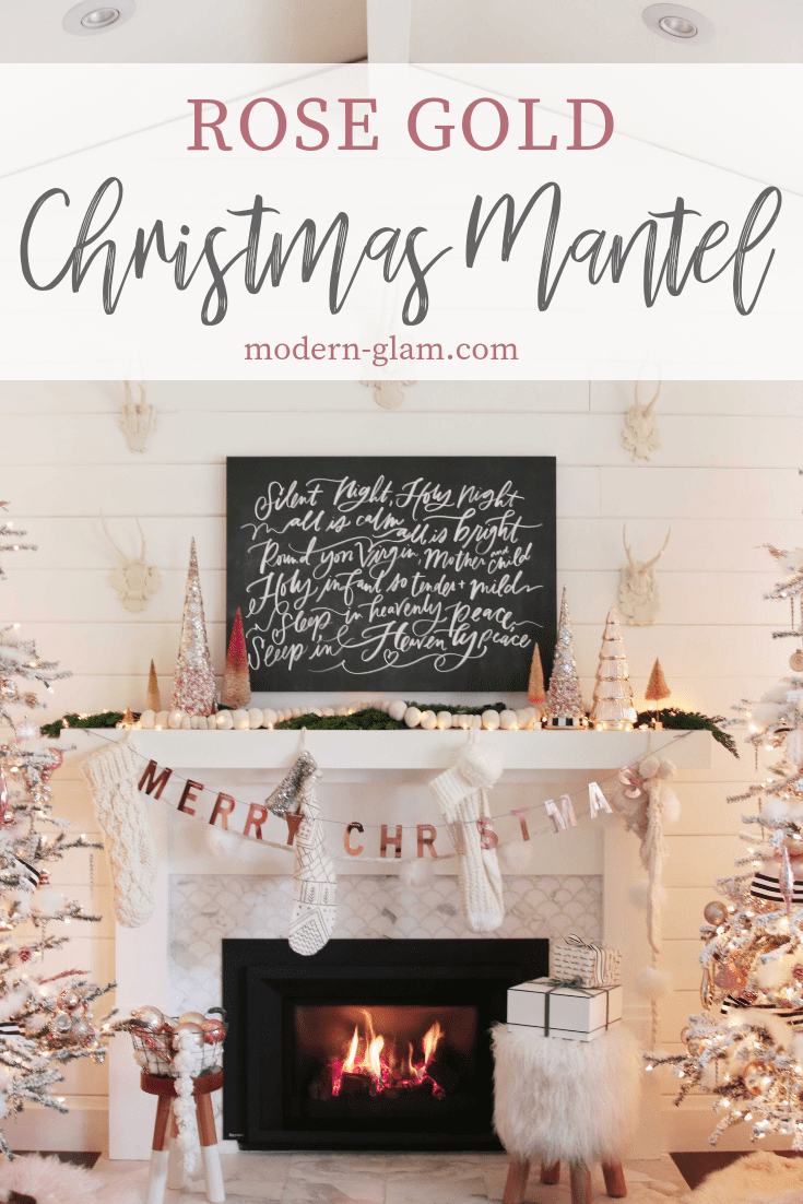 rose gold christmas mantel
