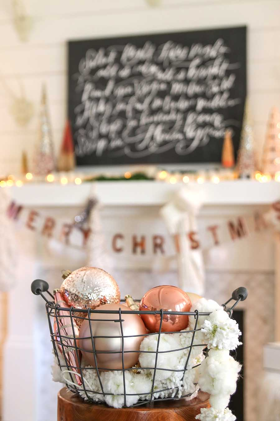 Rose Gold Christmas Mantel Decorating Idea