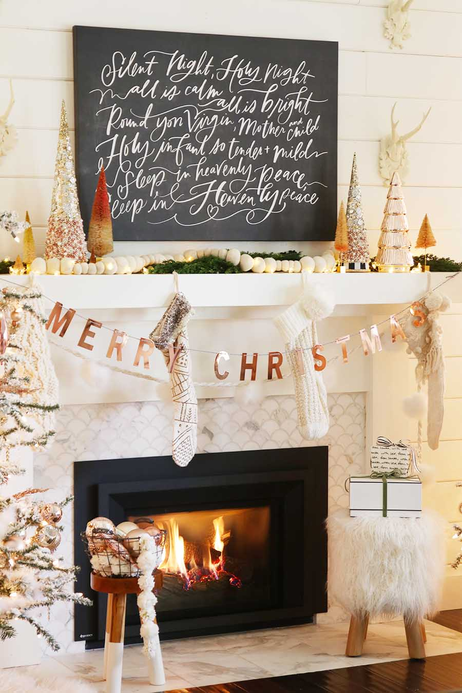Rose Gold Christmas Mantel Fireplace Decorations