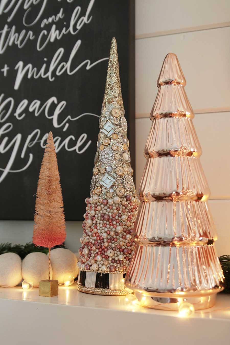 Rose Gold Christmas Mantel A Modern Farmhouse Holiday