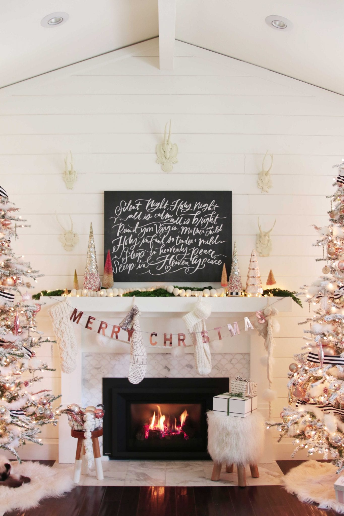 Rose gold christmas mantel a modern farmhouse holiday - Modern christmas mantel ideas ...