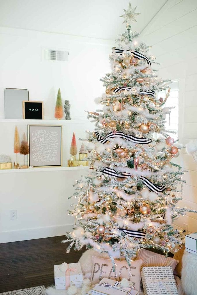 blush and rose gold christmas