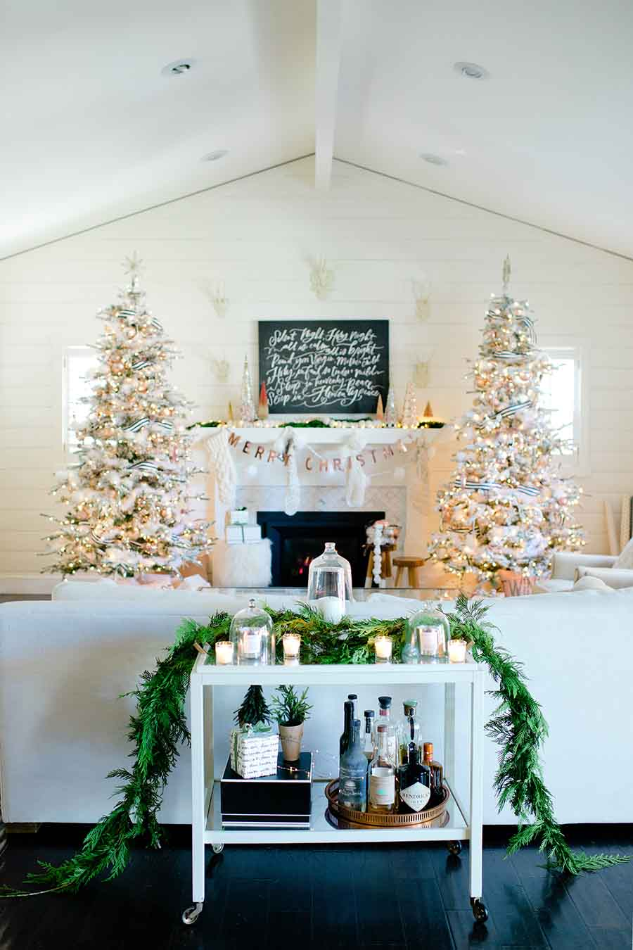 blush and copper christmas trees