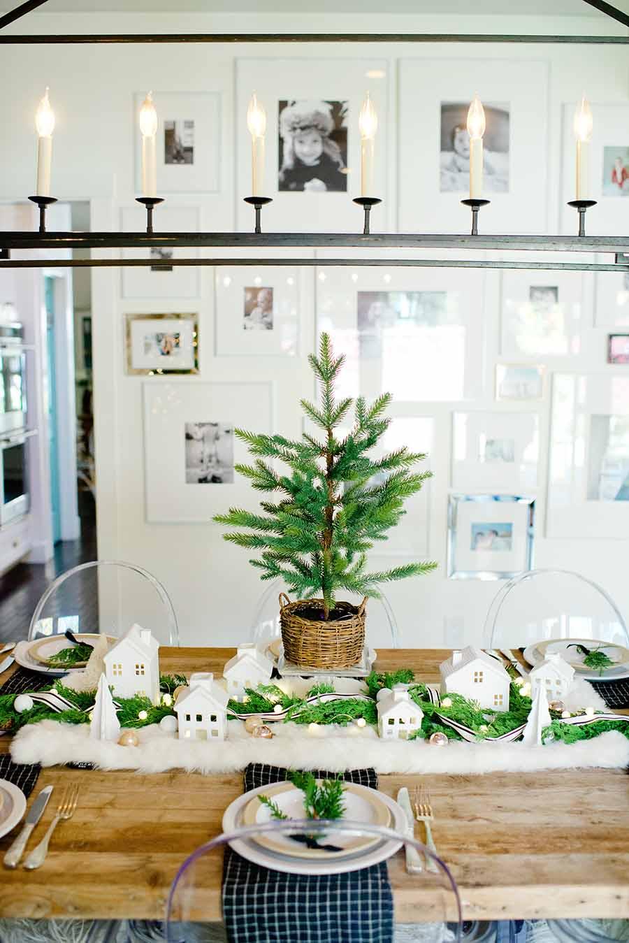 Neutral modern farmhouse christmas table