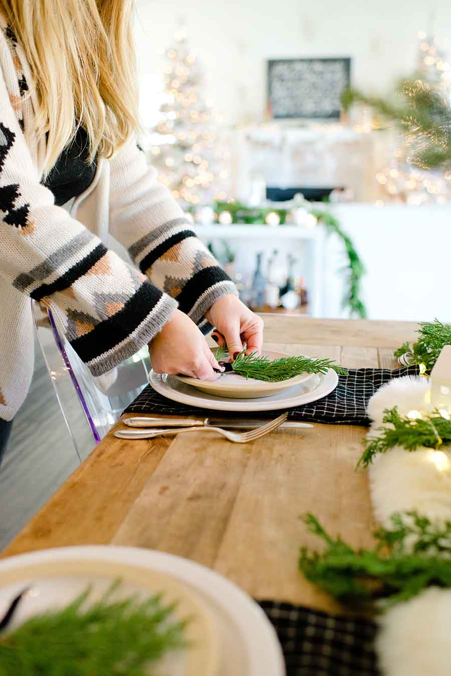 Neutral Simple Modern Farmhouse Christmas table
