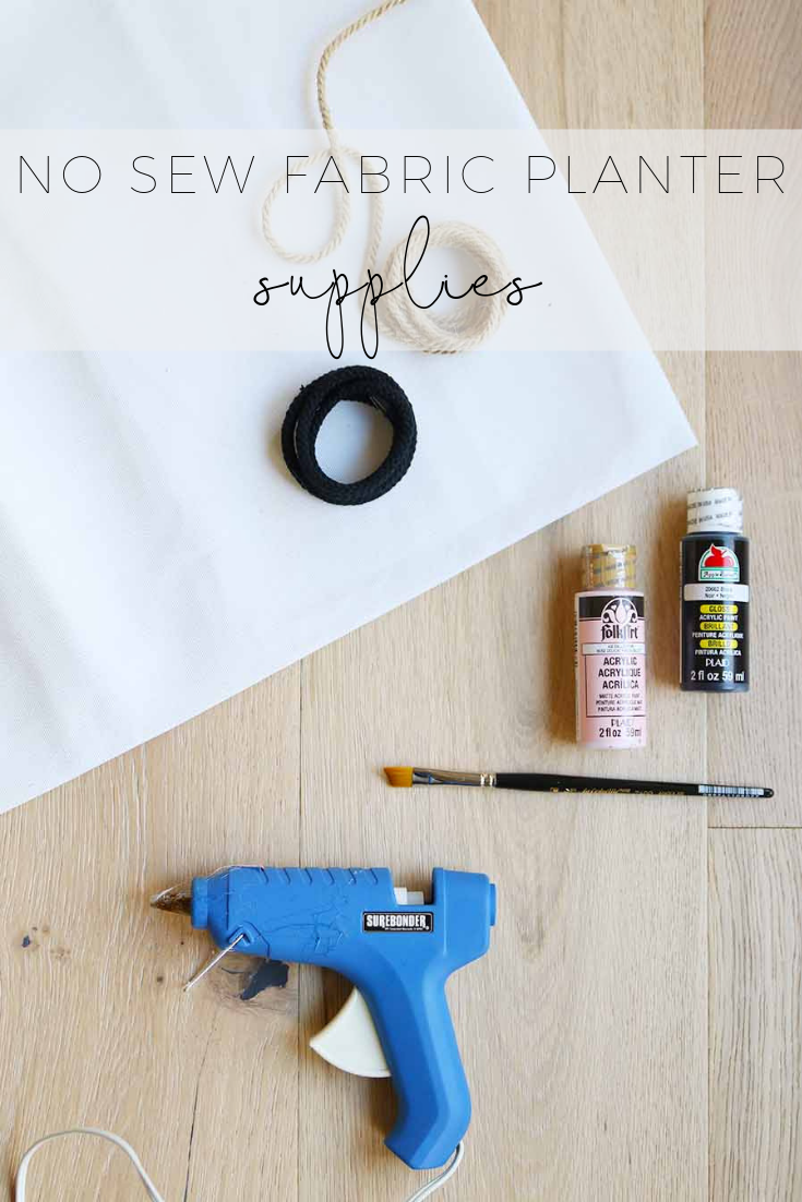 no sew fabric planter diy supplies