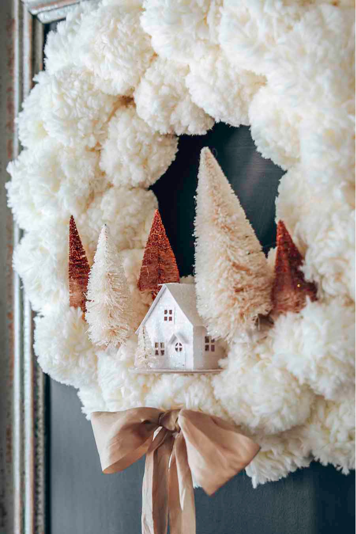 cozy winter pom pom wreath