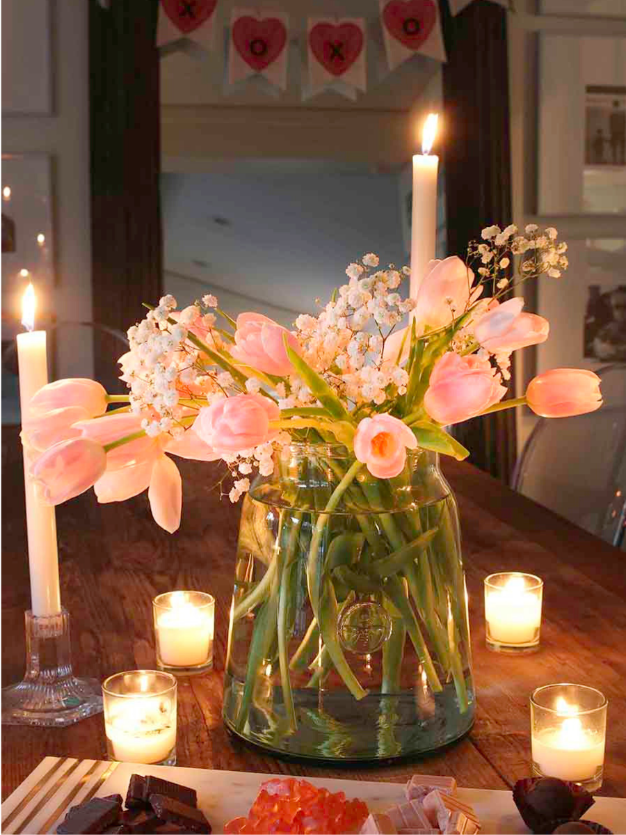 valentine's day table with candles