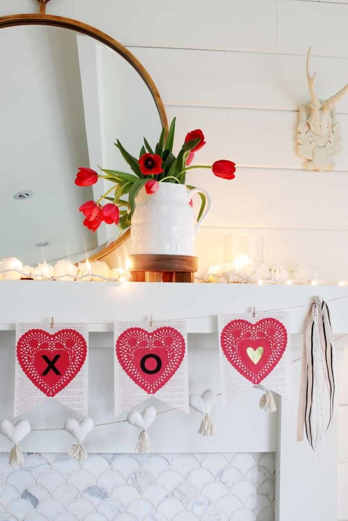 DIY Valentine's Day book page bunting