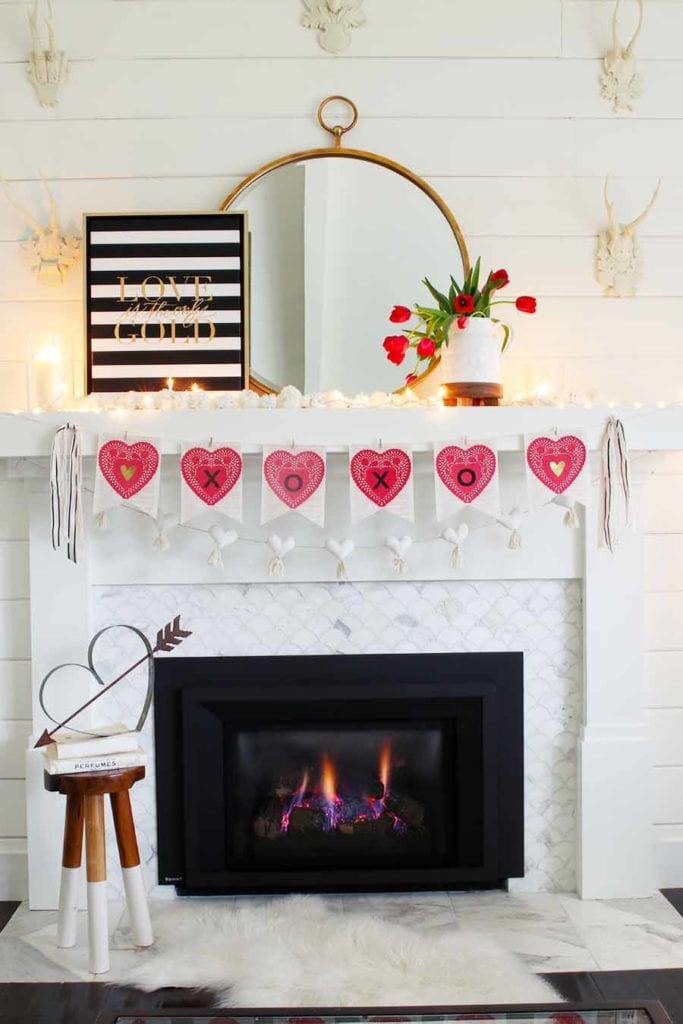 how to decorate your mantel for valentine's day