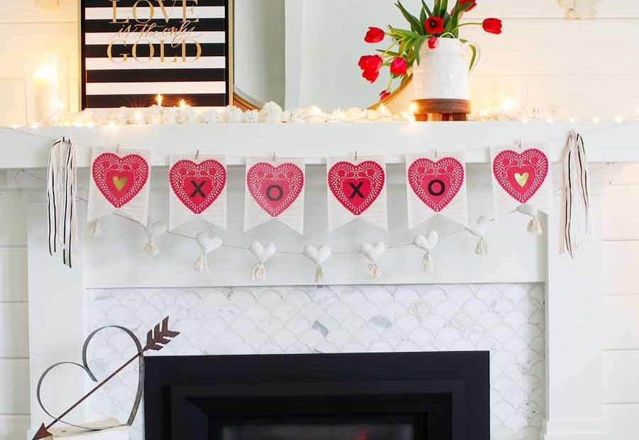 DIY Valentine's Day Book Page Banner