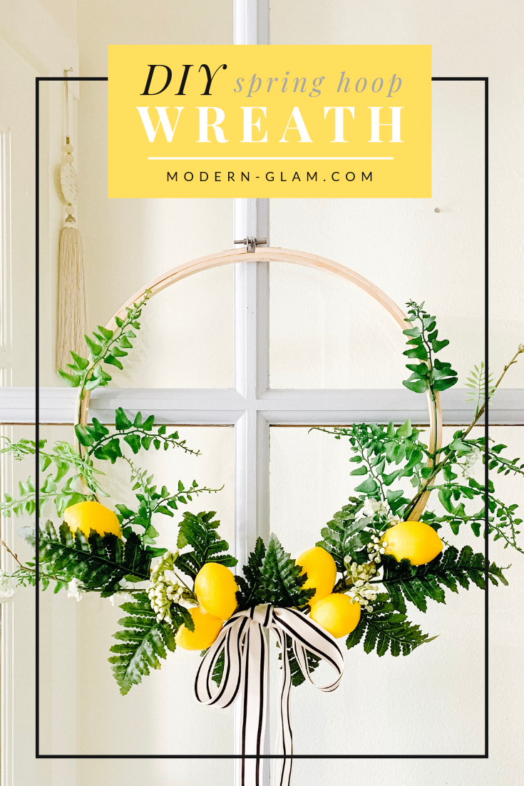 Make this easy SPRING embroidery hoop wreath! This simple DIY tutorial will show you how to make a hoop wreath perfect for spring with lemons! #diy #diywreath #wreath #homedecor #easyproject #easycraft #frontporch via @modernglamhome