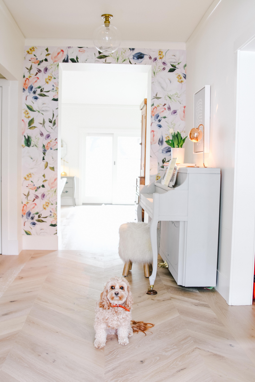 Boho Farmhouse entryway with wallpaper