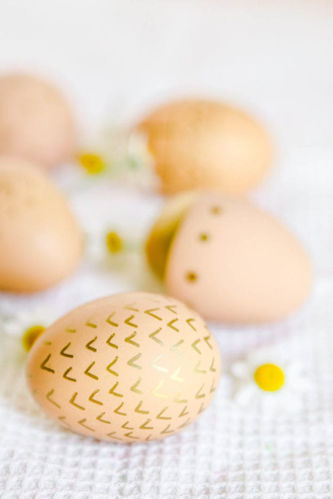 brown eggs decorated for easter