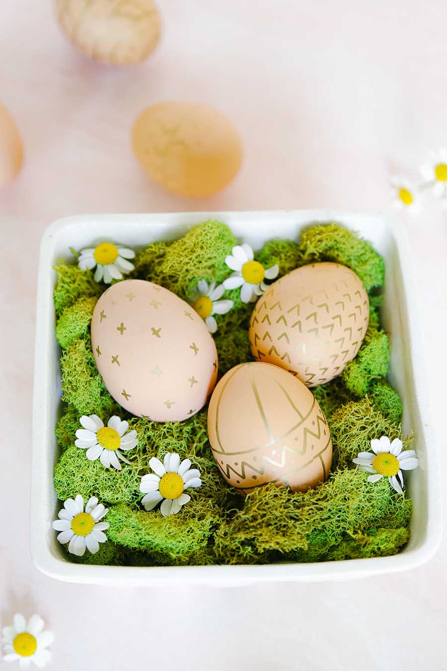 natural brown eggs decorated for easter