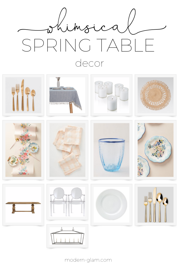 Create a whimsical spring table. Perfect for Easter brunch or a bridal shower. #tablescape #easter #springtable via @modernglamhome