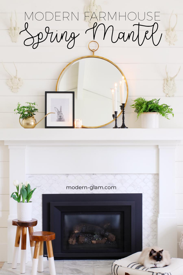 Simple Mantel Decorating Ideas for Spring! Check out these easy and timeless ideas for transitioning your decor for Spring! #springdecorating #mantel #fireplace #spring #blackandwhitedecor via @modernglamhome