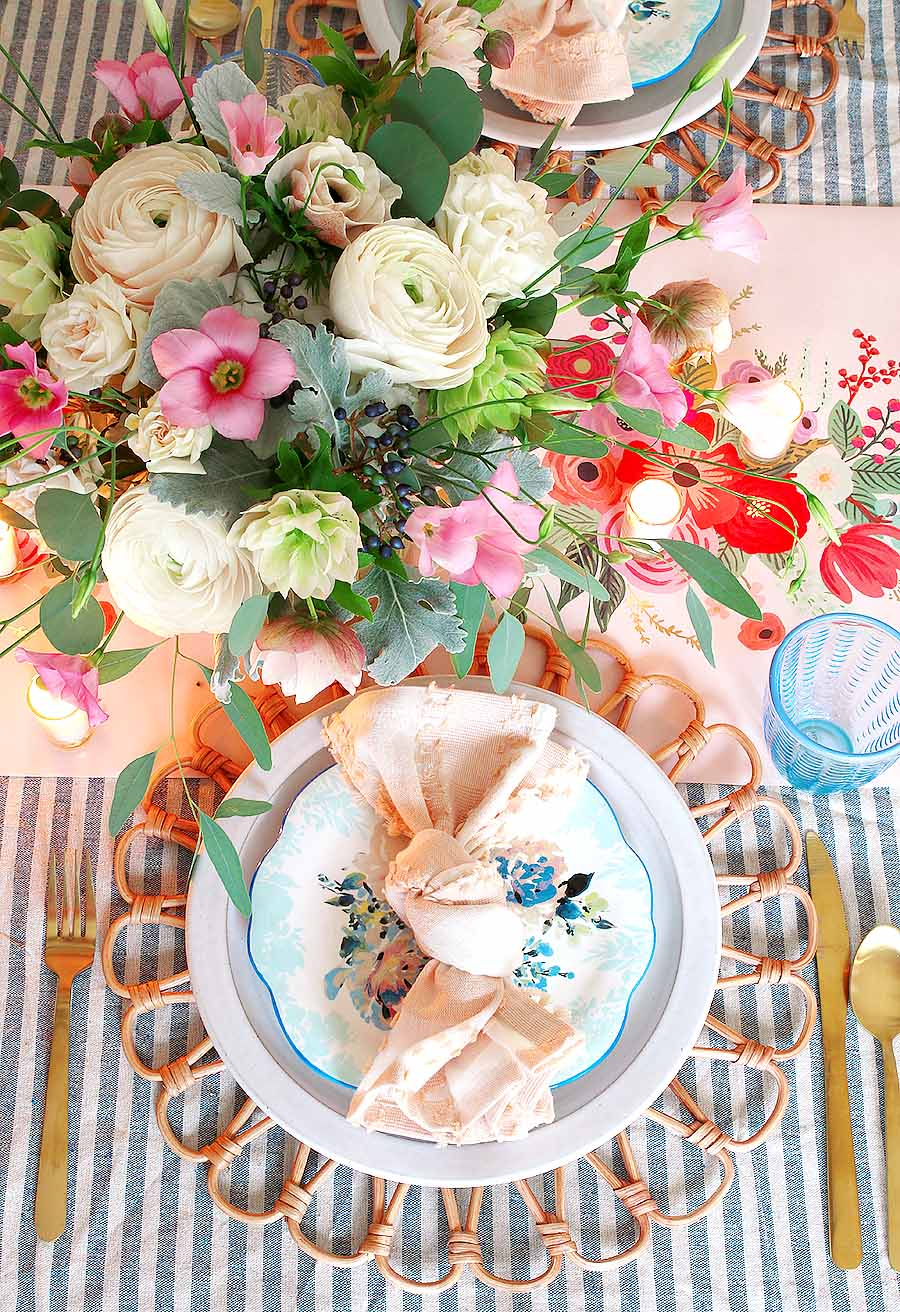 Spring Table Setting Pink and Blue Easter