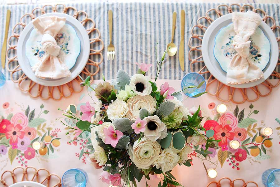 Pink and blue spring table setting for Easter