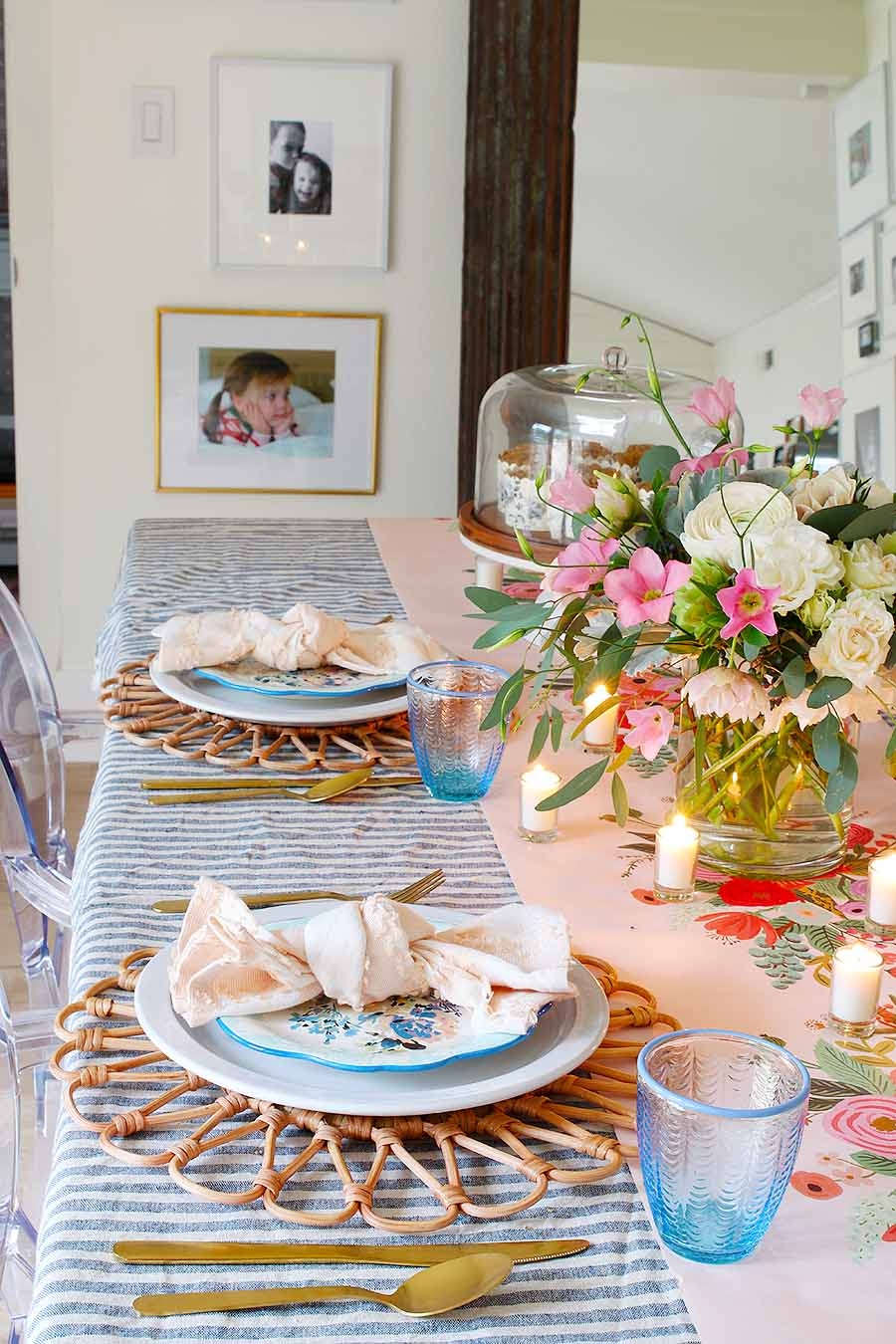 Pink and Blue Easter place setting