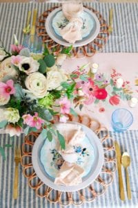 Pink and Blue Spring Tablescape