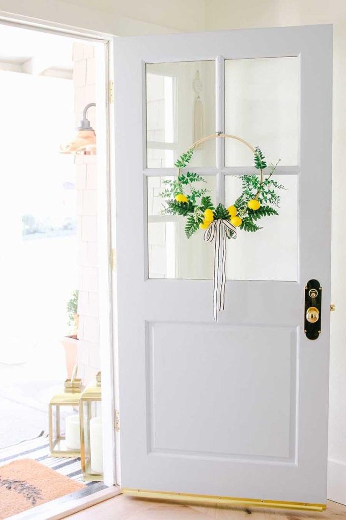spring hoop wreath with lemons