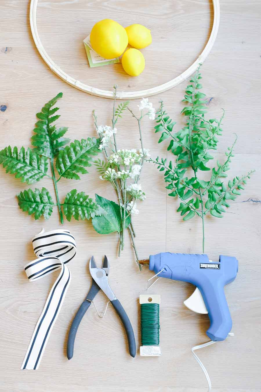 embroidery hoop wreath supplies