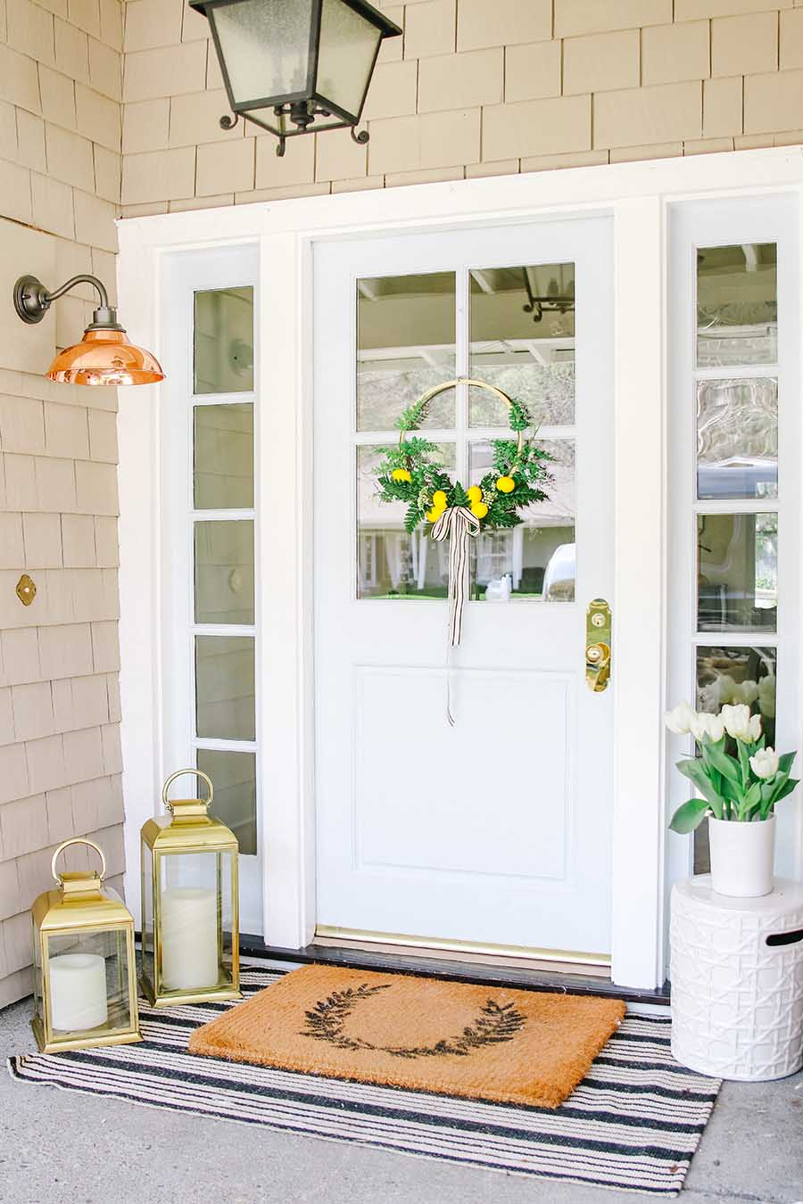 front porch with wreath