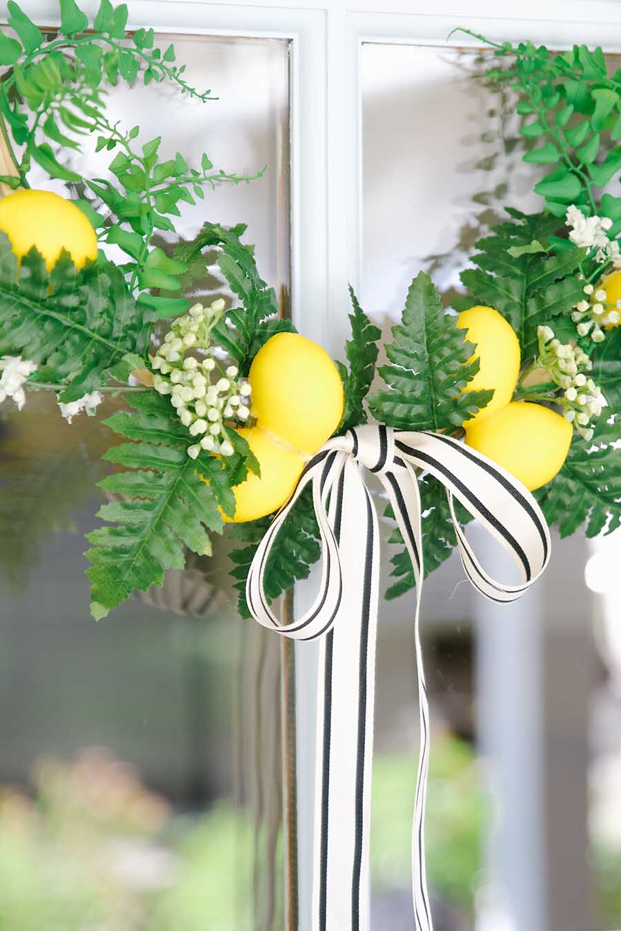 spring wreath with lemons