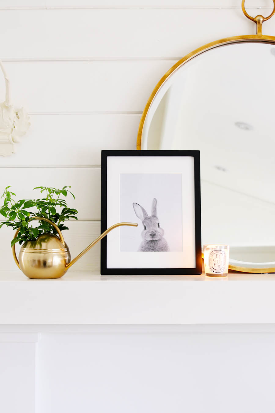 Simple Spring Mantel Decor