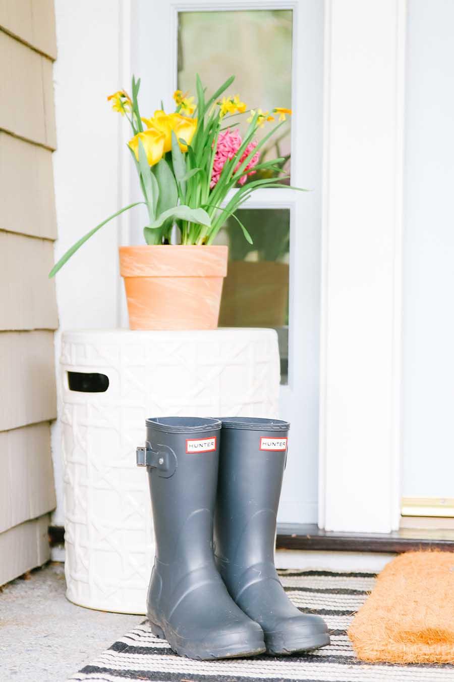 rainboots on front porch