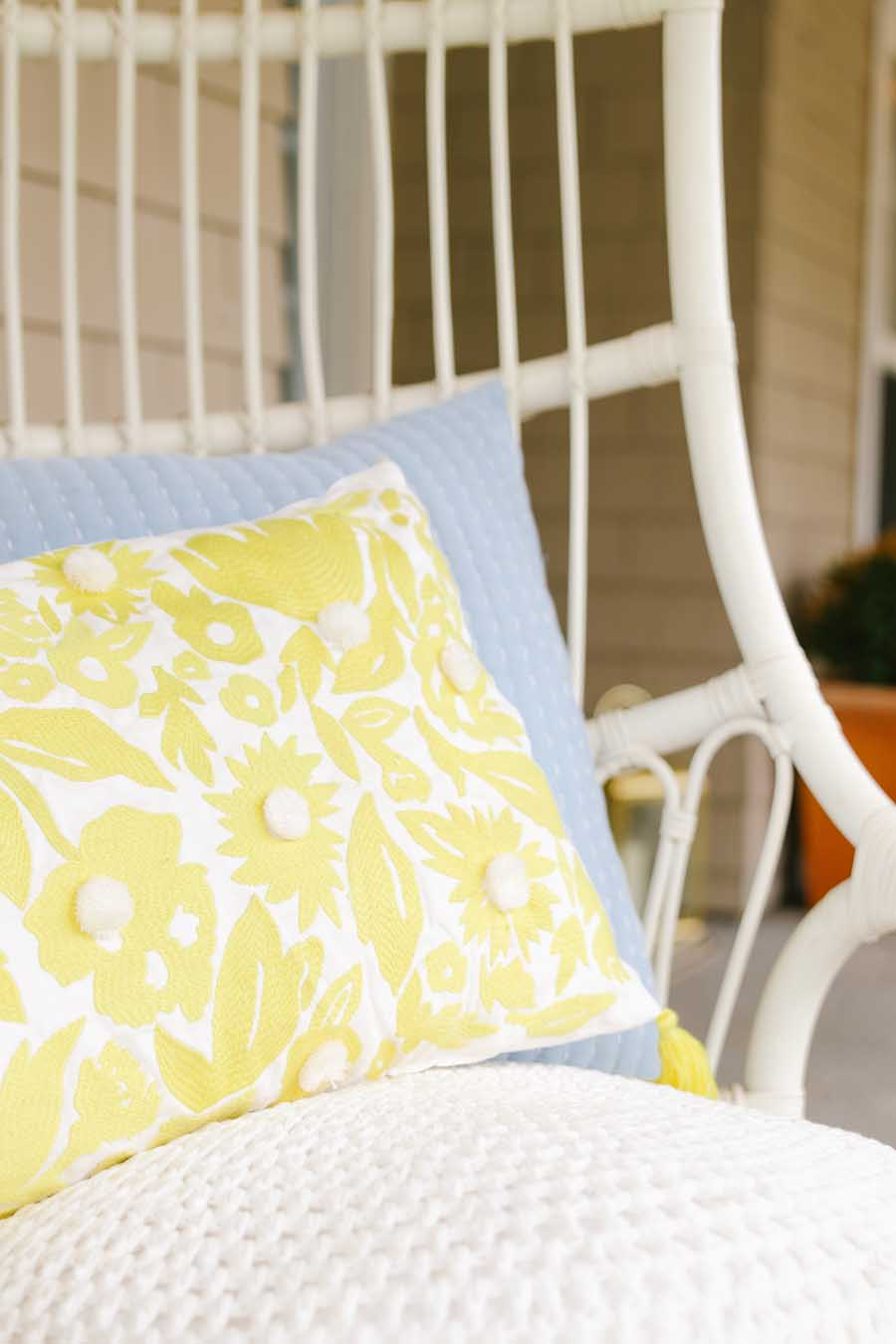 yellow pillow spring porch