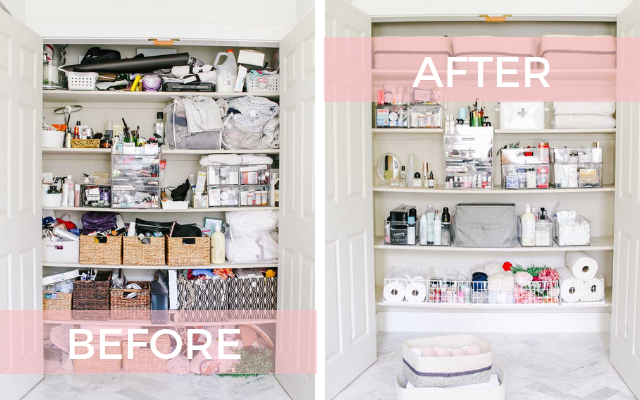 before and after linen closet