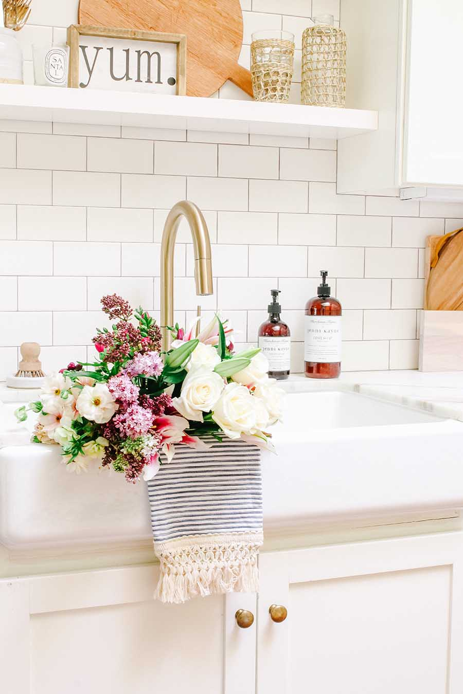 farmhouse sink of flowers