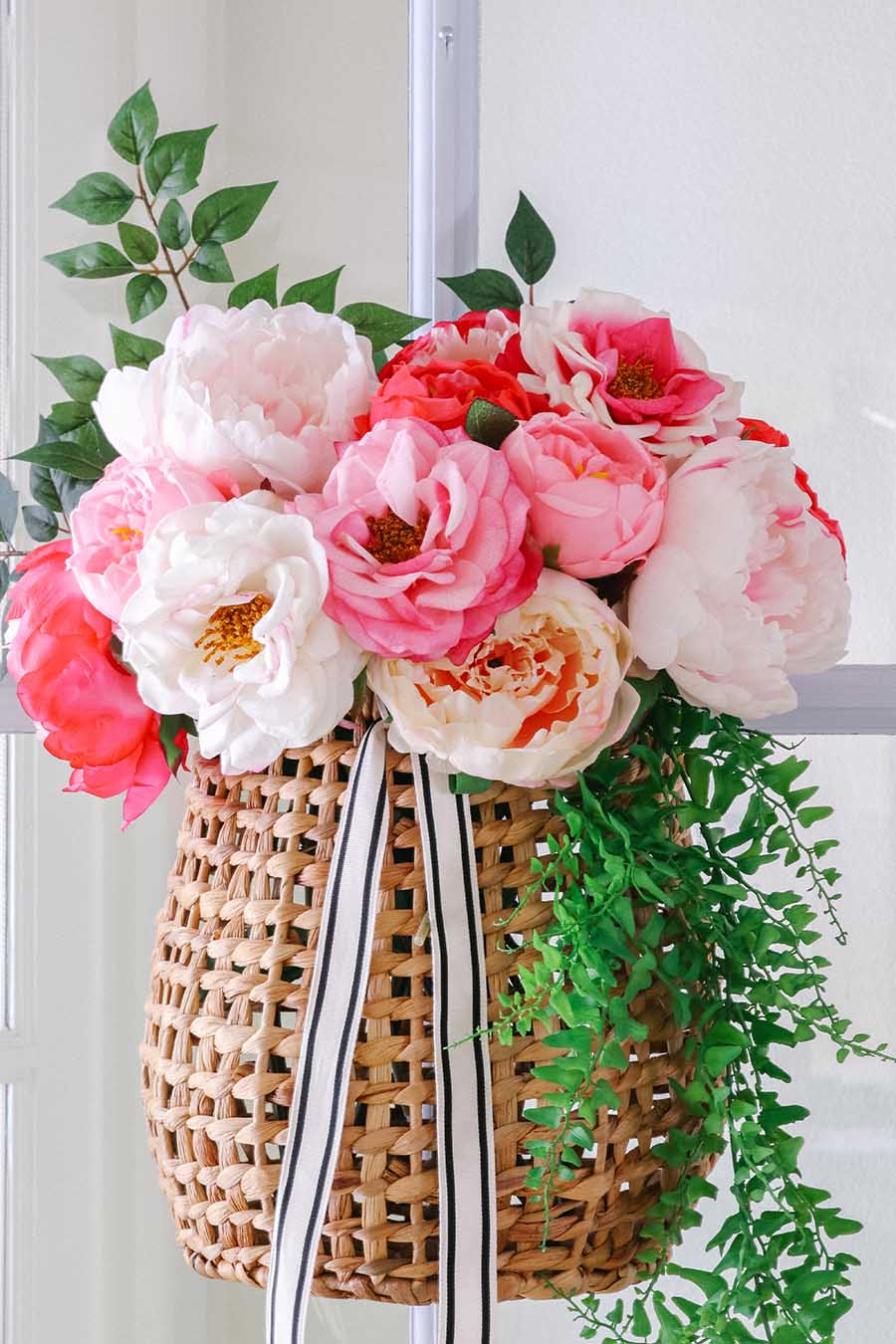 hanging basket peony wreath on door