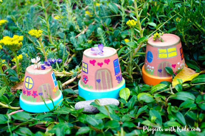 easy painted fairy houses for fairy garden