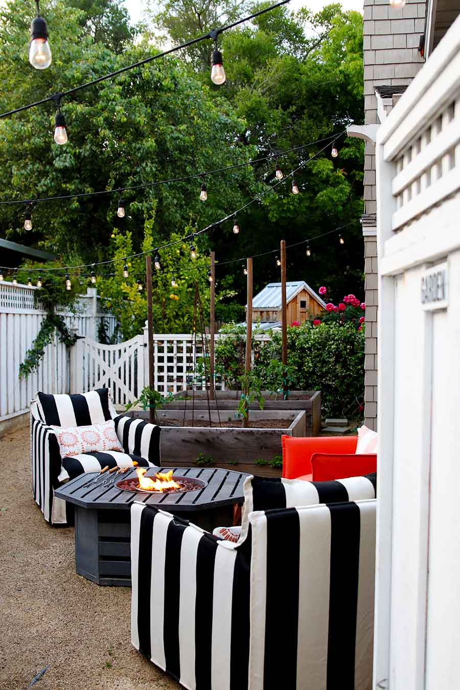 summer patio with lights